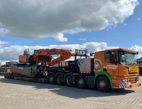 Amphibious excavator on the way to Norway